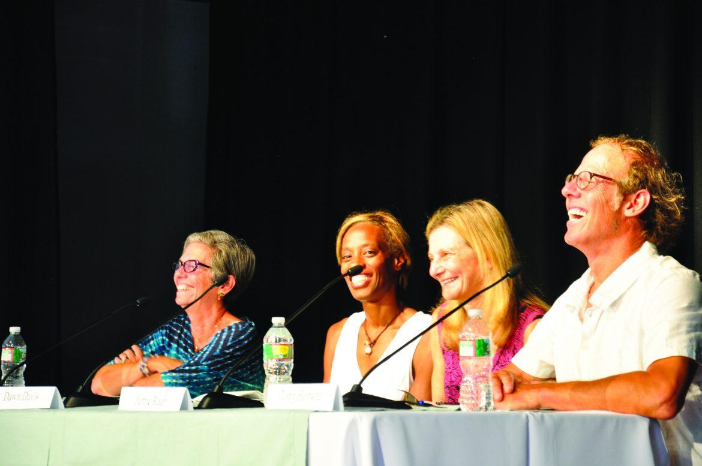 Rosemary Stimola, Dawn Davis, Jamie Raab, and Tony Horwitz at a 2015 Islanders Write panel.